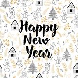Happy New Year background. Vector seamless pattern royalty free illustration