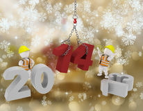 Happy New Year background with white characters. 3D render of white characters bringing the new year in Royalty Free Illustration