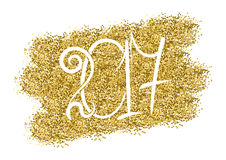 2017 happy New Year background. White numbers on golden background. Vector illustration Royalty Free Stock Photo