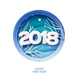 2018 Happy New Year Background. Wild nature. Greetings Card for Christmas invitations. Paper cut snow flake. Circle. Frame. Text. Origami Mountains. Blue Stock Photos