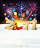 Happy New Year 2017 background with a wooden sign Stock Photos