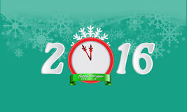 Happy new year 2016 background for your card design. Illustrated happy new year 2016 background for your card or poster design with clock and green shining Stock Photo
