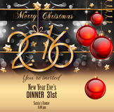 2016 Happy New Year Background for your Christmas Flyers. Dinner invitations, festive posters, restaurant menu cover, book cover,promotional depliant, Elegant Stock Image