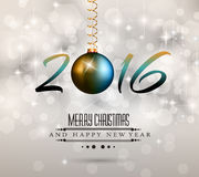2016 Happy New Year Background for your Christmas Flyers,. Dinner invitations, festive posters, restaurant menu cover, book cover,promotional depliant, Elegant Stock Photo