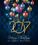 2017 Happy New Year Background for your Flyers. And Greetings Card. Ideal for Poster, covers and invitations stock illustration
