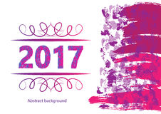 2017 Happy New Year Background for your Flyers and Greetings Card. Ideal to use for parties invitation, Dinner invitation, Christm Stock Image