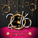 2016 Happy New Year Background for your Flyers. And Greetings Card. Ideal to use for parties invitation, Dinner invitation, Christmas Meeting events and so on stock illustration