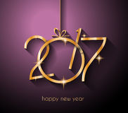 2017 Happy New Year Background for your Flyers. And Greetings Card. Ideal to use for parties invitation, Dinner invitation, Christmas Meeting events and so on stock illustration
