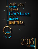 2016 Happy New Year Background for your Greetings Card. Royalty Free Stock Images