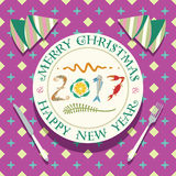 Happy New Year Background for your Greetings Card. 2017 lettering with seafood on a Plate. Merry christmas lettering. Laid table w. Ith magenta tablecloth Stock Images