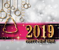 2019 Happy New Year Background for your Seasonal Flyers and Greetings Card stock illustration