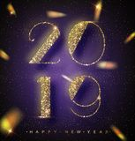 2019 Happy New Year Background for your Seasonal Flyers and Greetings Card or Christmas themed invitations. Banner with 2019 Numbe. Rs on trendy ultraviolet Royalty Free Illustration