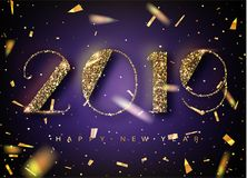 2019 Happy New Year Background for your Seasonal Flyers and Greetings Card or Christmas themed invitations. Banner with 2019 Numbe. Rs on trendy ultraviolet stock illustration