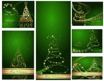 Happy New Year backgrounds. Green and gold collection of  Happy New Year background Stock Photography