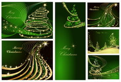 Happy New Year backgrounds. Green and gold collection of  Happy New Year background Royalty Free Stock Image