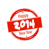 Happy New Year 2014 badge. Happy New Year 2014 celebration red badge Royalty Free Stock Images