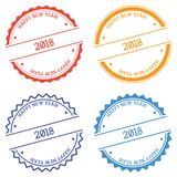 Happy New Year 2018 badge isolated on white. Happy New Year 2018 badge isolated on white background. Flat style round label with text. Circular emblem vector Stock Photos