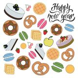 Happy new year bakery pattern stock illustration
