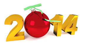 Happy new year 2014. With new year ball Royalty Free Stock Photography