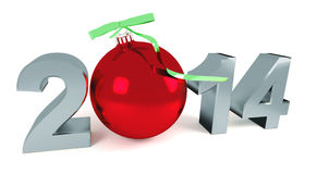 Happy new year 2014. With new year ball Royalty Free Stock Photo