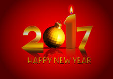 Happy new year 2017 ball and candle. Data 2017 with candle and ball on red reflection background Stock Photos