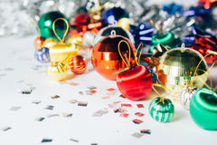 Happy new year ball color. White background Stock Photography