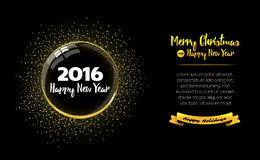 Happy New Year ball with gold sparkles. New year card 2016. Beautiful decorative shiny Xmas ball for Merry Christmas. Happy New Year ball with gold sparkles Stock Photo