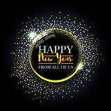 Happy New Year ball with golden sparkles. New year card. Beautiful decorative shiny Xmas ball for New Year and Merry Christmas Royalty Free Stock Photography