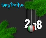 Happy New Year 2018 and ball with the Italy flag. Happy New Year numbers 2018 and christmas ball painted in the colors of the Italy flag hanging on a Christmas Royalty Free Stock Photos