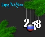 Happy New Year 2018 and ball with the Russian flag. Happy New Year numbers 2018 and christmas ball painted in the colors of the Russia flag hanging on a Royalty Free Stock Images