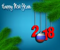 Happy New Year 2018 and ball with the Russian flag. Happy New Year numbers 2018 and christmas ball painted in the colors of the Russia flag hanging on a Stock Images