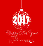 Happy new year 2017 with ball star.  Stock Photo