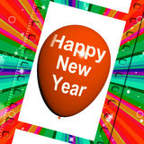 Happy New Year Balloon Shows Parties and Celebrations Stock Photo