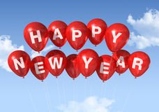 Happy new year balloons. Red Happy new year balloons isolated on a blue sky Stock Photography