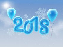 2018 Happy new year balloons. Happy New Year background with blue number balloons with snowlflakes. 3D illustration. 3D illustration of 2018 Happy new year royalty free illustration