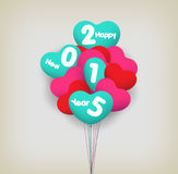Happy new year with balloons. Happy new year background and greeting card design Royalty Free Stock Photography