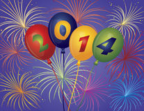Happy New Year 2014 Balloons Fireworks Illustratio. Happy New Year 2014 Balloons with Fireworks Display Background Illustration vector illustration