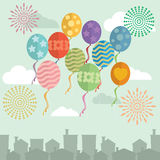 Happy New Year balloons and fireworks in sky. Vector Stock Photos