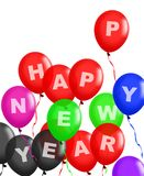 Happy New Year Balloons Floating Stock Photos
