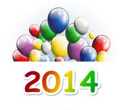 Happy new year 2014 with balloons. Illustration of happy new year 2014 with balloons Royalty Free Stock Photos