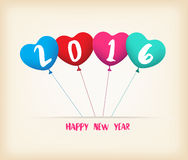 Happy new year 2016 with balloons shape colorful.  Royalty Free Stock Photo