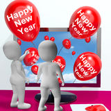 Happy New Year Balloons Show Online Celebration Royalty Free Stock Photo