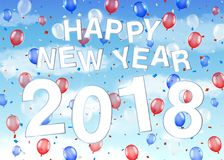 Happy new year 2018 with balloons on sky. A happy new year 2018 with balloons on sky Royalty Free Stock Image