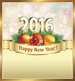 Happy New Year 2016 with balls Royalty Free Stock Photography