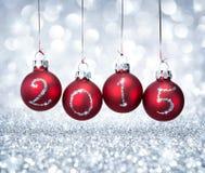 Happy new year 2015 with balls xmas. Happy new year 2015 with red balls xmas stock photo