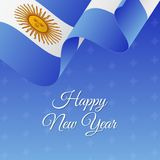 Happy New Year banner. Argentina waving flag. Snowflakes background.. Happy New Year banner. Argentina waving flag. Snowflakes background. Vector Stock Image