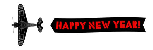 Happy new year banner with army aeroplane. 2019 stock illustration