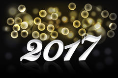 Happy new year 2017 banner or background with gold bokeh effect Stock Photography