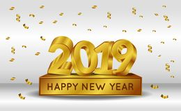 Happy new year banner background template with 3d gold silver number. vector illustration. Happy new year banner background template with 3d gold with confetti vector illustration