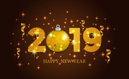 Happy new year banner background template with 3d gold number and bauble. vector illustration. Happy new year banner background template with 3d gold number and royalty free illustration